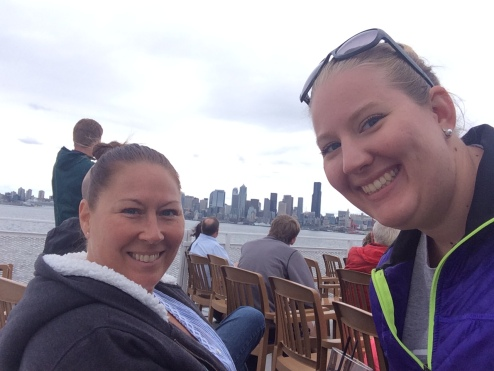 mom and I on the boat
